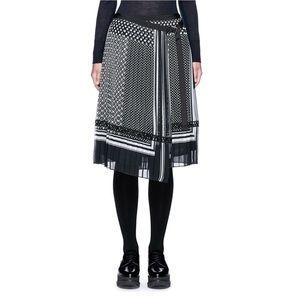 Sacai Designer Scarf Print Pleated Skirt